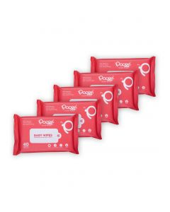 Antibacterial Baby Wipes with Enriched Aloe Vera & Vitamin E (40 Wipes) - Pack of 5