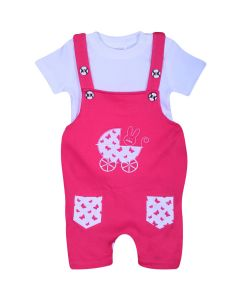 EVERLY Half Sleeve Dungaree for Girls
