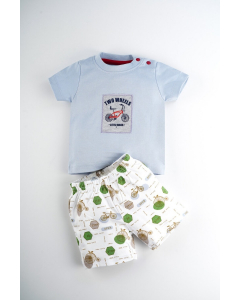 Sanz T-Shirt with Printed Shorts for Boys